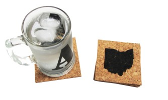 'Ohio State' in Black on Cork Coasters (Installed)