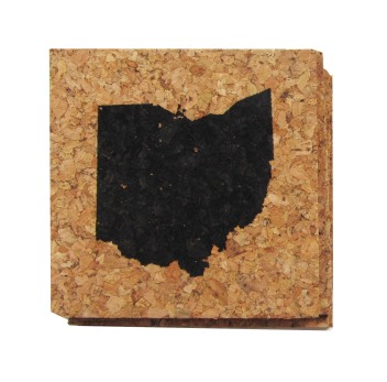 'Ohio State' in Black on Cork Coasters