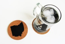 'Ohio State' in Black on Round Cork Coaster (Installed)