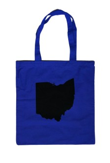 'Ohio State' in Black on Royal Tote