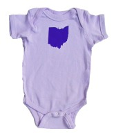 'Ohio State' in Purple on Lilac Rabbit Skins Onesie
