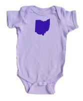'Ohio State' in Purple on Lilac Rabbit Skins Onesie