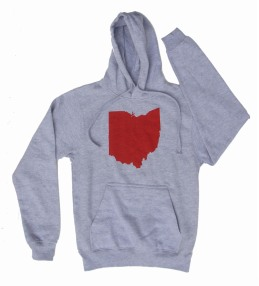 'Ohio State' in Red on Heather Grey Hoodie