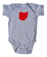 'Ohio State' in Red on Heather Grey Rabbit Skins Onesie