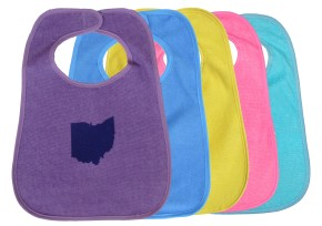 'Ohio State' in Red on Multiple Bibs (Light Blue, Yellow, Pink, Teal Blue)