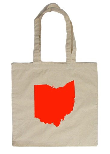 'Ohio State' in Red on Natural Tote