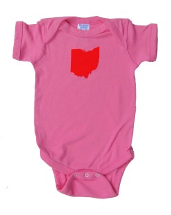'Ohio State' in Red on Raspberry Pink Rabbit Skins Onesie