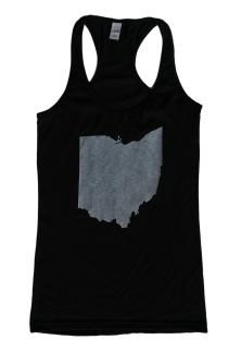 'Ohio State' in White on Black Racerback Tank