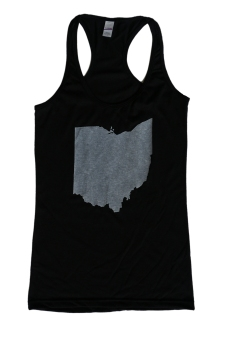 'Ohio State' in White on Black Racerback Tank