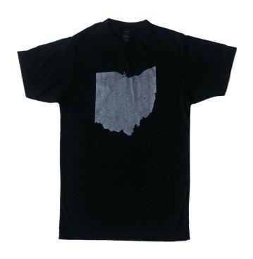 'Ohio State' in White on Black Unisex Tee