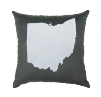 'Ohio State' In White on Gray Pillow