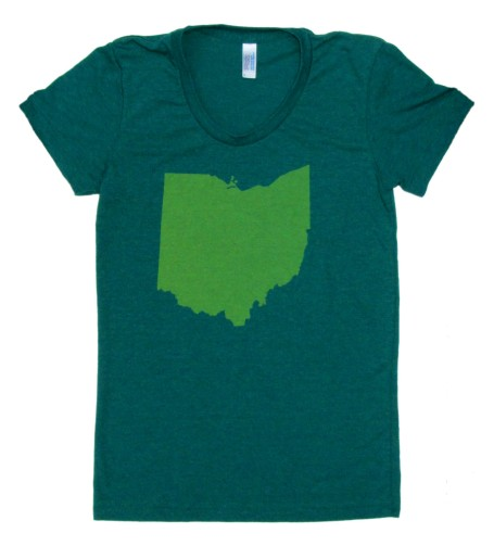 'Ohio State' in Yellow on Evergreen American Apparel Ladies Track Tee