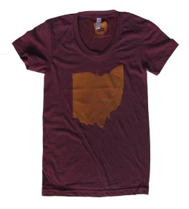 'Ohio State' in Yellow on Ladies Cranberry American Apparel Tee