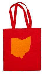 'Ohio State' in Yellow on Red Tote