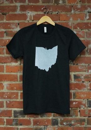 'Ohio State' on Charcoal Black Tri-Blend Unisex Tee