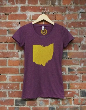 'Ohio State' on Maroon Ladies TriBlend Tee