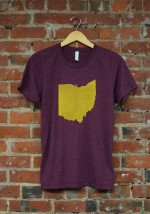 'Ohio State' on Maroon Tri-Blend Unisex Tee