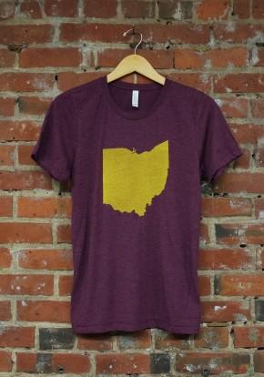 'Ohio State' on Maroon Tri-Blend Unisex Tee