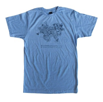 'Pittsburgh Map' in Blue on Athletic Blue Unisex Tee