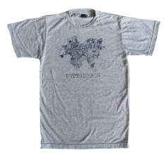 'Pittsburgh Map' in Blue on Heather Grey Unisex Tee