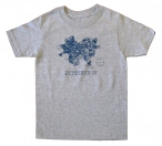 'Pittsburgh Map' in Blue on Heather Grey Youth Tee