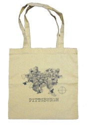 'Pittsburgh Map' in Blue on Natural Tote