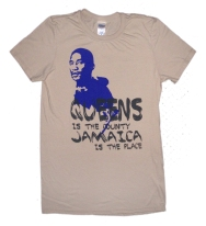 'Queens Is The County' in Purple and Dark Grey on Sand Tee