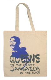 'Queens Is The County' in Purple and Graphite Grey on Natural Tote
