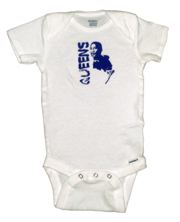 'Queens Is The County' in Purple on White Onesie