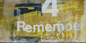 'Remember (Gold)', 24''x48'', Acrylic, Spraypaint, Screen Print, 2016