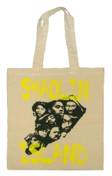 'Shaolin Island' in Black and Yellow on Natural Canvas Tote