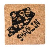 'Shaolin Island' in Black on Natural Cork Coasters