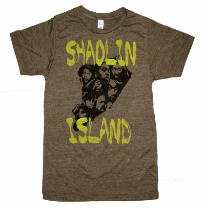 'Shaolin Island' in Yellow and Black on Heather Brown Tee