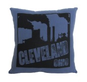 'Smokestacks' in Black on Blue Flannel Pillow