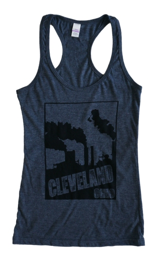 'Smokestacks' in Black on Heather Navy Racerback Tank