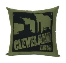 'Smokestacks' in Black on Olive Green Pillow