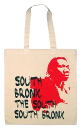 'South Bronx' in Black and Red on Natural Tote