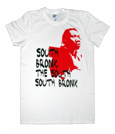 'South Bronx' in Red and Black on White Tee