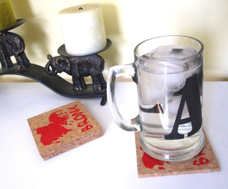 'South Bronx' in Red on Natural Cork Coasters (Installed)