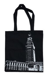 'Tower Center' Black Tote Bag