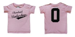 'Underdogs' in Black on Powder Pink Toddler Tee (Front & Back)