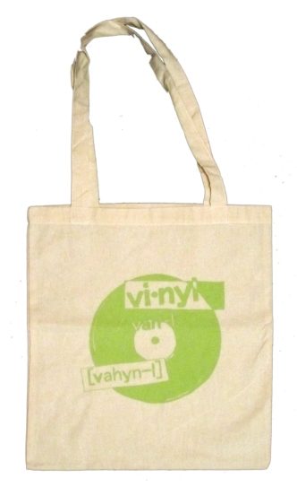 'Vinyl', in Lime Green on Natural Canvas Tote
