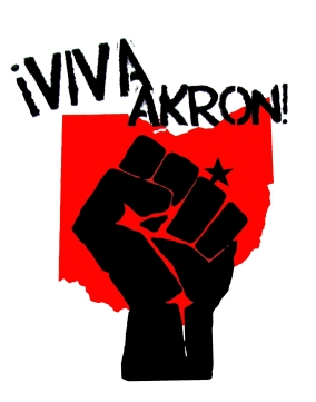 '!Viva Akron!' in Red and Black on 11'' x 14'' White Bristol Board