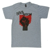 '!Viva Akron!' in Red and Black on Heather Grey Unisex Tee