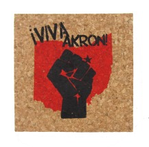 'Viva Akron!' in Red and Black on Natural 4'' x 4'' Cork Coasters