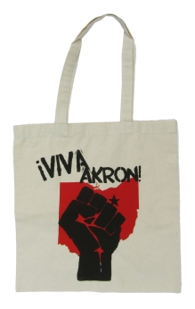 '!Viva Akron!' in Red and Black on Natural Tote