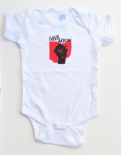 'Viva Akron!' in Red and Black on White Rabbit Skins Onesie