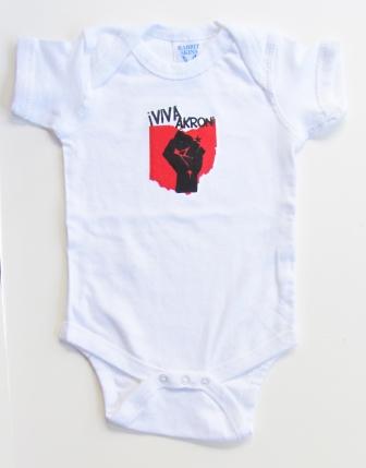 'Viva Akron!' in Red and Black on White Rabbit Skins Onesie