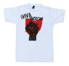 '!Viva Akron!' in Red and Black on White Unisex Tee