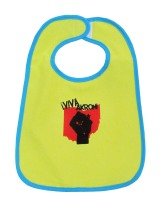 'Viva Akron!' in Red and Black on Yellow Bib (Blue Trim)